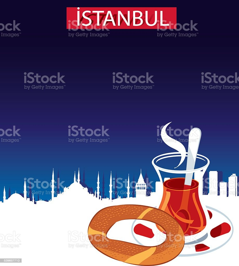 Istanbul and Tea vector art illustration