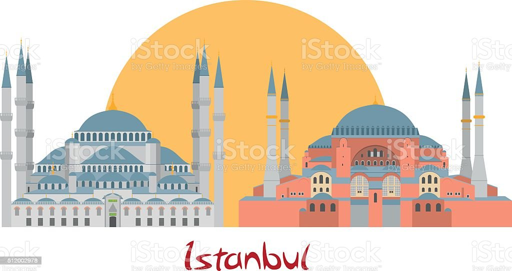 Istanbul banner illustration with Blue Mosque and Hagia Sophia vector art illustration