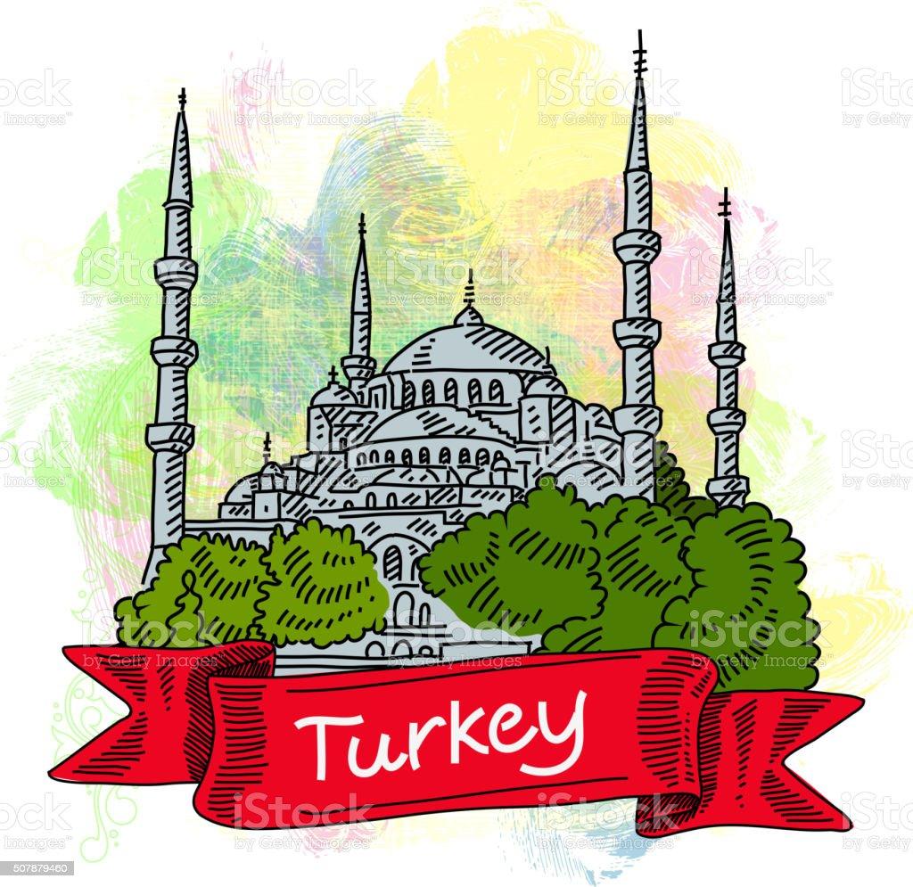 De Istambul Mesquita Azul Desenho - Arte vetorial de stock ...