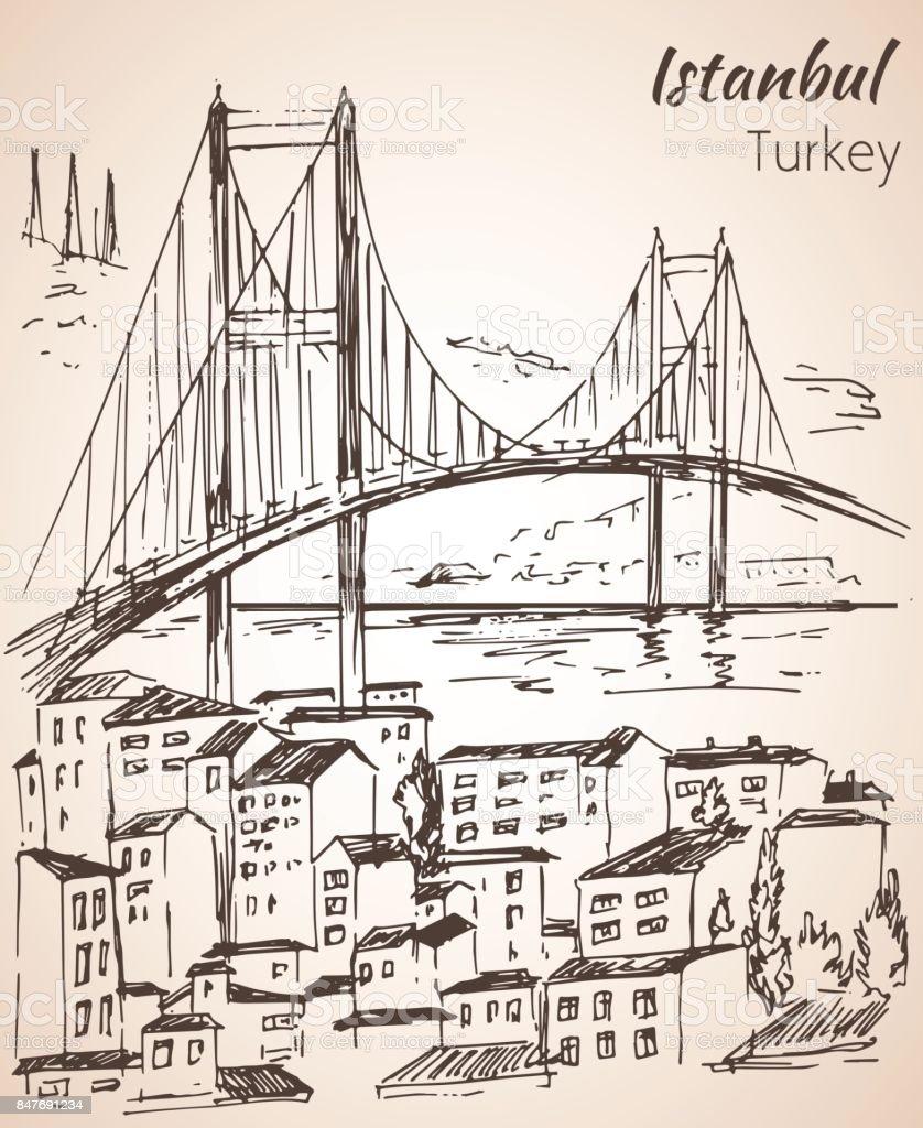 Istanbul Bosphorus Bridge sketch. Turkey. vector art illustration