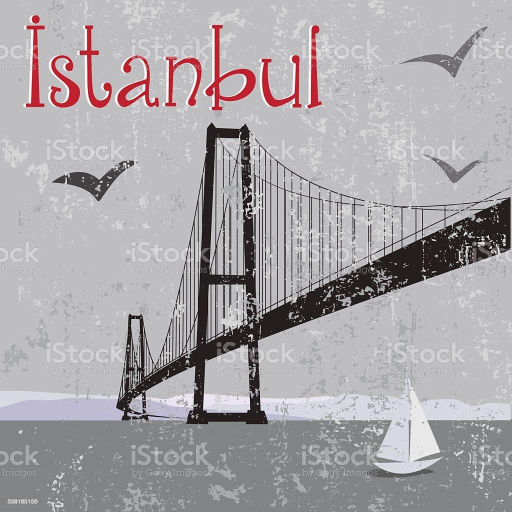 Istanbul Bosphorus Bridge vector art illustration