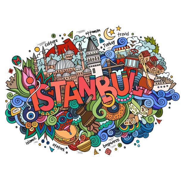 Istanbul city hand Schriftzug und Kritzeleien Elemente – Vektorgrafik