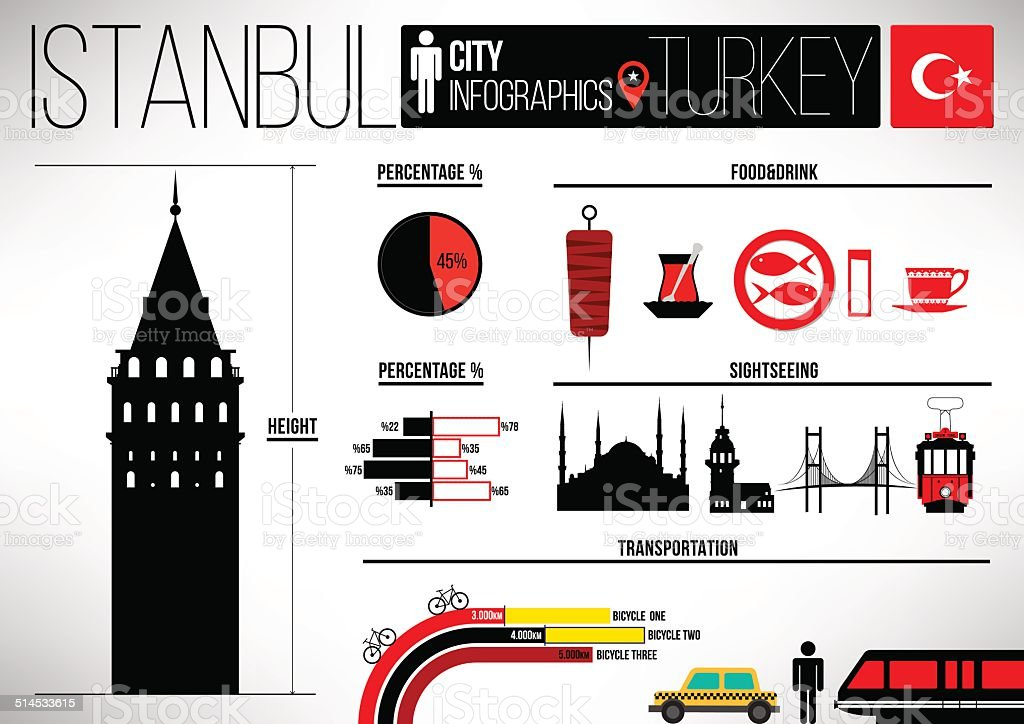 Istanbul City Infographic Design Template vector art illustration