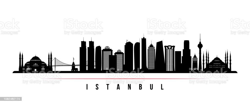 Istanbul city skyline horizontal banner. Black and white silhouette of Istanbul. Vector template for your design. vector art illustration