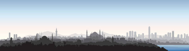 Istanbul city skyline. Travel Turkey background. Turkish urban cityscape with landmarks vector art illustration