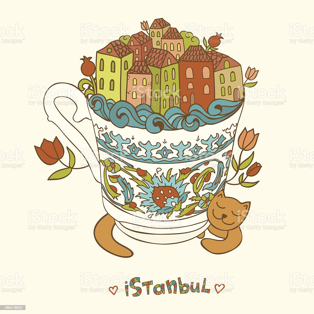 Istanbul form in turkish coffee cup with red cat stock vector art istanbul form in turkish coffee cup with red cat royalty free istanbul form in buycottarizona Image collections