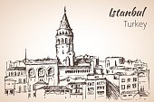 istock Istanbul Galata Tower. Turkey. Sketch. 847690838