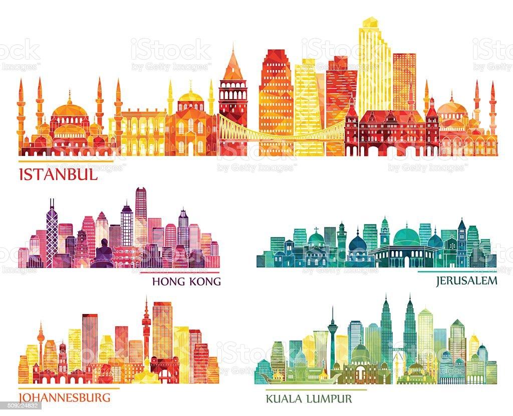 Estambul, Hong Kong, Jerusalén, de Johannesburgo, los edificios de la ciudad de Kuala Lumpur. Ilustración vectorial - ilustración de arte vectorial
