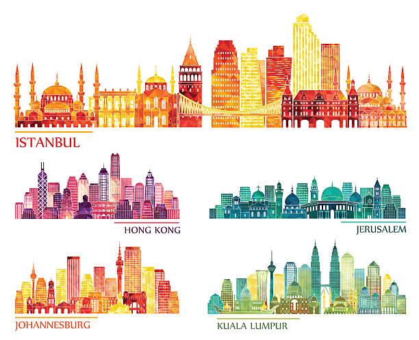 ilustraciones, imágenes clip art, dibujos animados e iconos de stock de estambul, hong kong, jerusalén, de johannesburgo, los edificios de la ciudad de kuala lumpur. ilustración vectorial - viaje a asia