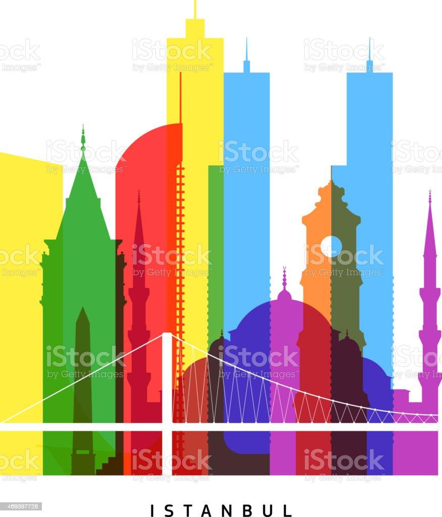 Istanbul landmarks bright collage vector art illustration