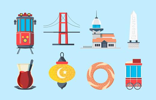 Istanbul landmarks. Muslim buildings skylines traditional buildings turkey bridge vector signs in flat style