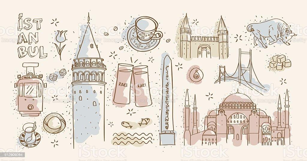 istanbul landmarks vector art illustration