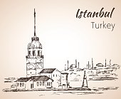 Istanbul Maiden's Tower and Bosphorus Bridge. Turkey. Sketch.