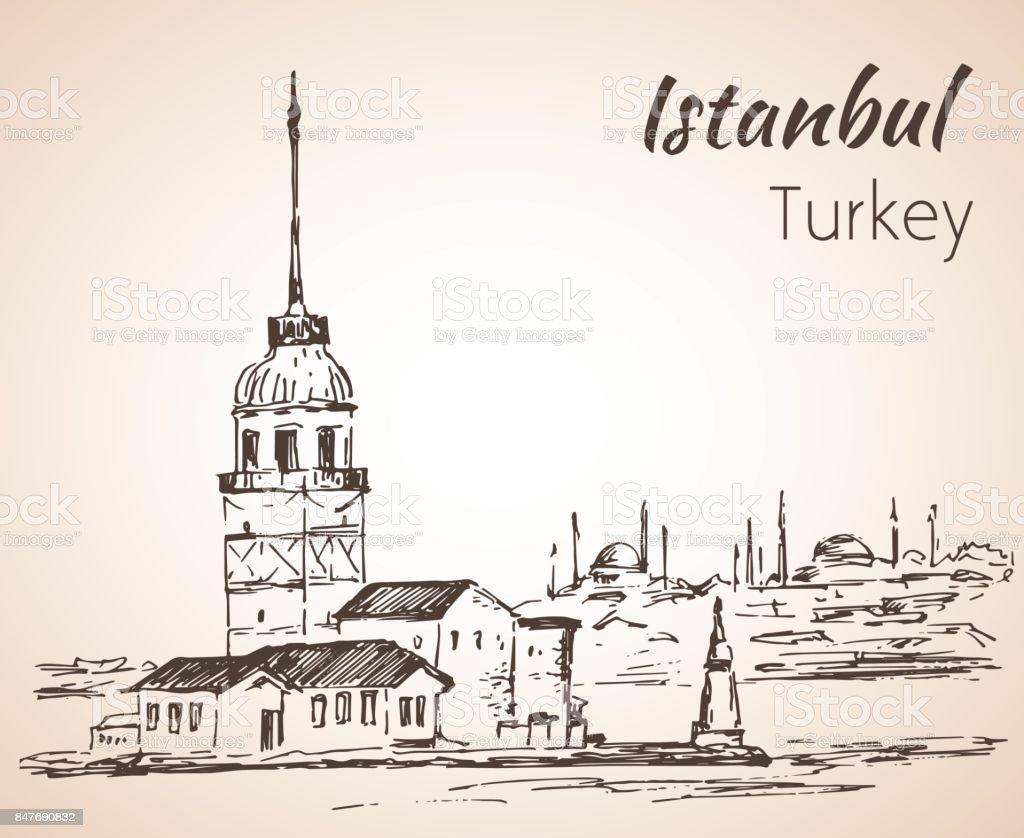 Istanbul Maiden's Tower and Bosphorus Bridge. Turkey. Sketch. vector art illustration