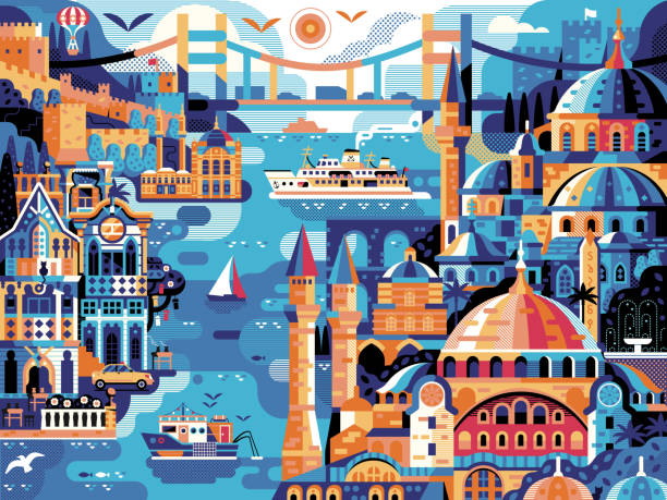Istanbul Panoramic Cityscape Travel Horizontal Vintage Poster vector art illustration