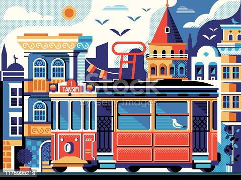 Istanbul retro tram poster with Galata Tower on Istiklal Avenue. Beyogly district old town scene with historical tramway, and ottoman houses. Turkey travel tourist vintage postcard in flat design.