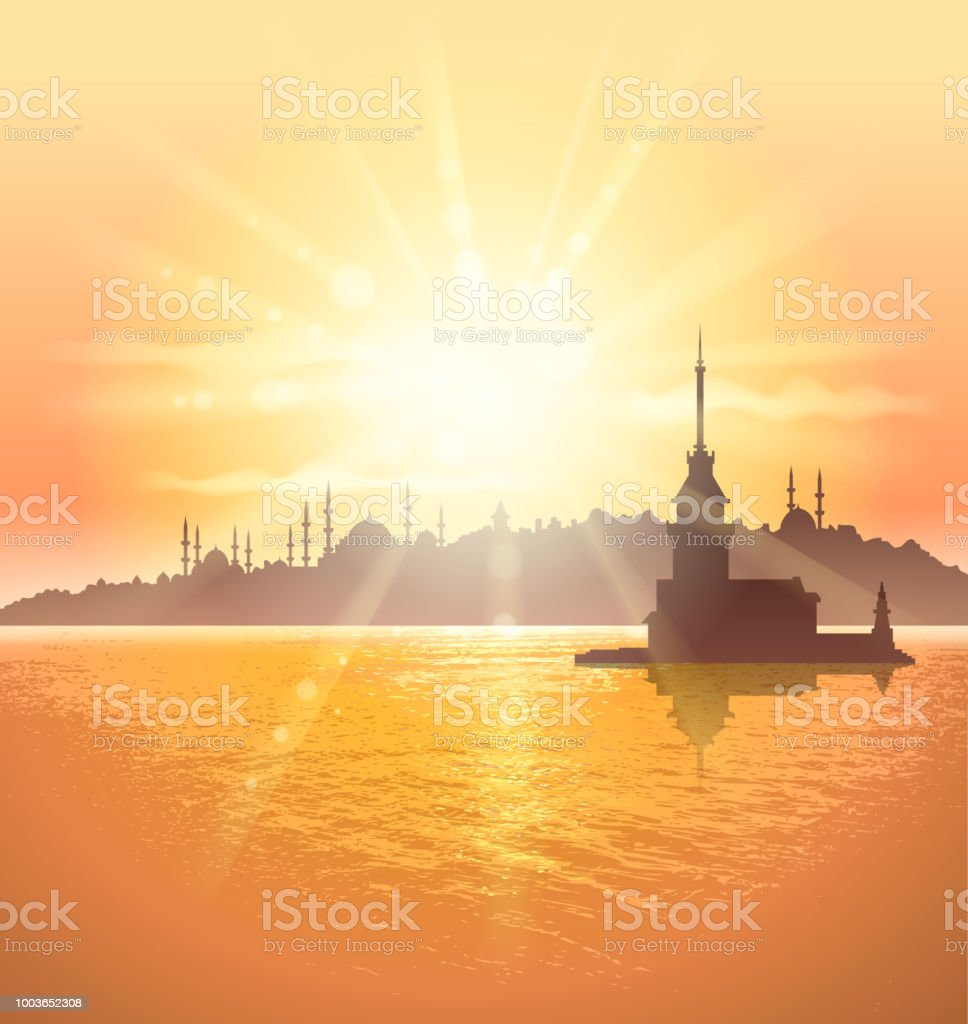 istanbul scenic vector art illustration