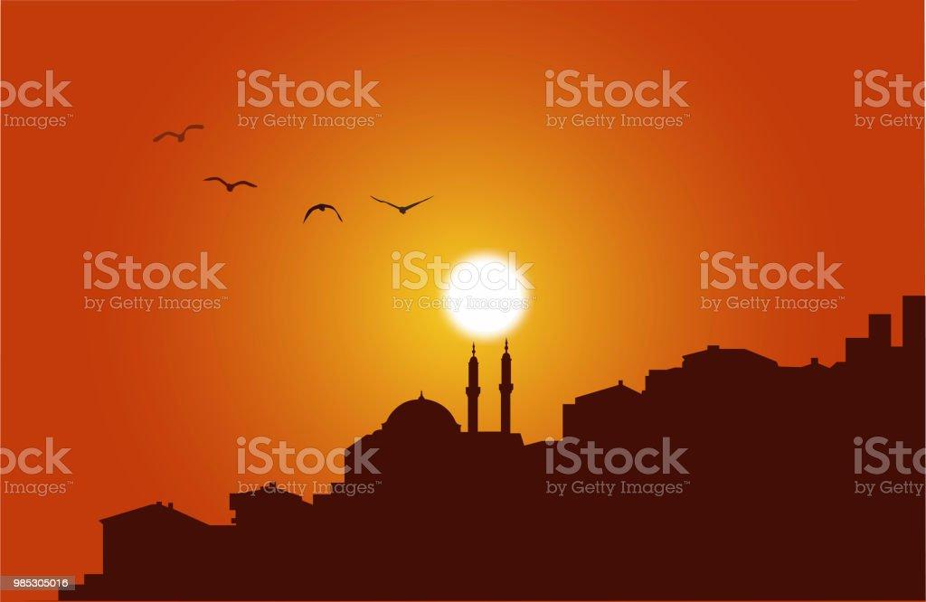 istanbul silhouette at sunset vector art illustration