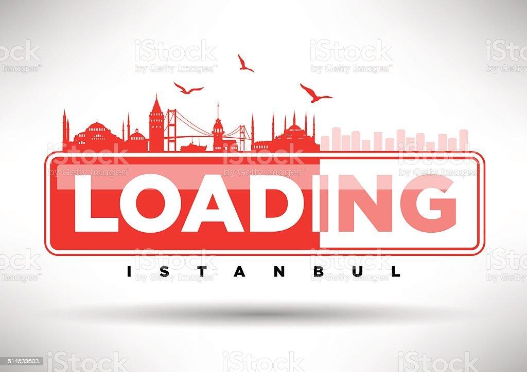 Istanbul Skyline Loading Typographic Design vector art illustration