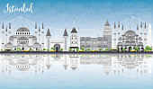 Istanbul Skyline with Gray Landmarks, Blue Sky and Reflections. Vector Illustration. Business Travel and Tourism Concept with Istanbul City. Image for Presentation Banner Placard and Web Site.
