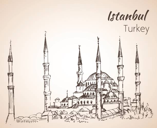 Istanbul Sultan Ahmed Mosque - Blue Mosque. Turkey. Sketch. vector art illustration