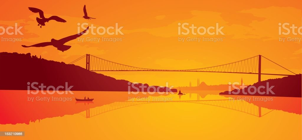 Istanbul sunset vector art illustration
