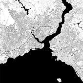 Topographic / Road map of Istanbul, Turkey. Original map data is open data via © OpenStreetMap contributors
