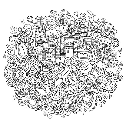Istanbul vector hand drawn outline illustration