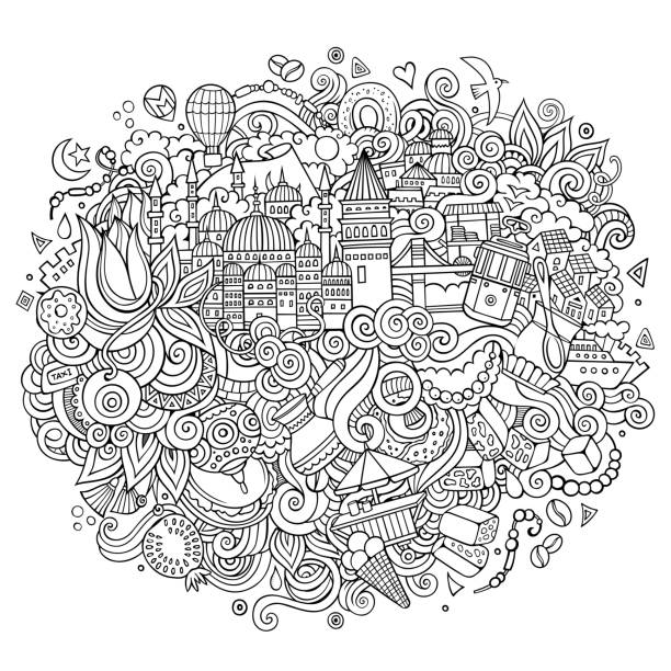 Istanbul Vektor handgezeichnete Umriss-Illustration – Vektorgrafik