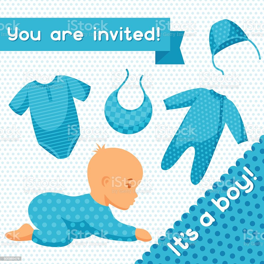It is a boy. Baby shower invitation vector art illustration
