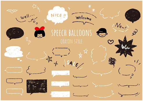 It is a set of speech balloons like drawn with crayons. Vector.