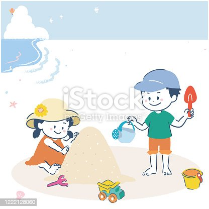 istock It is an illustration of a girl and a boy playing with sand on the sand. Vector image. 1222128060