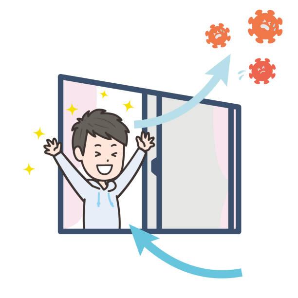es ist eine illustration, dass ein mann im raum belüftet wird und das virus vertreibt. vektorbild. - lüften stock-grafiken, -clipart, -cartoons und -symbole