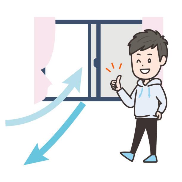 es ist eine illustration, dass ein mann im raum belüftet wird. vektorbild. - lüften stock-grafiken, -clipart, -cartoons und -symbole