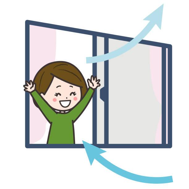 es ist eine illustration, dass eine frau im raum belüftet wird. vektorbild. - lüften stock-grafiken, -clipart, -cartoons und -symbole