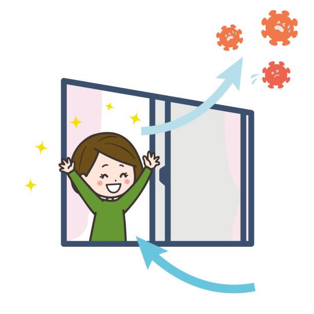 es ist eine illustration, dass die frau den raum belüftet und das virus auswirft. vektorbild. - lüften stock-grafiken, -clipart, -cartoons und -symbole