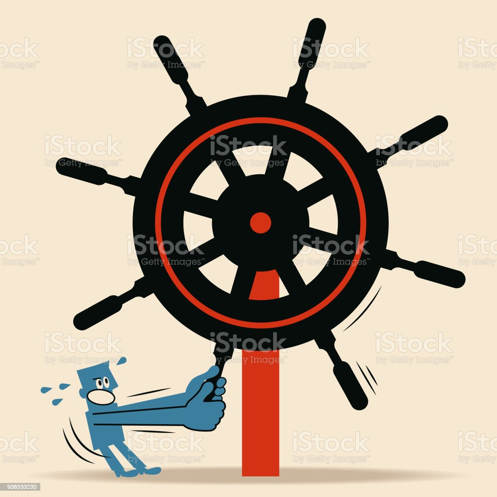 It is difficult or impossible to conduct policies, programs, and projects (bureaucracy concept). A man holds rudder and tries hard to operate the rudder vector art illustration