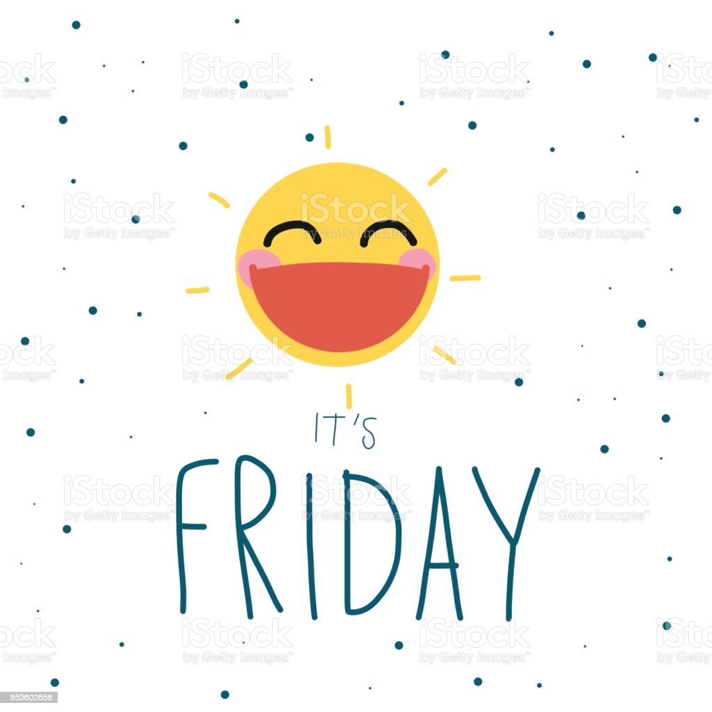 É sexta-feira sorriso de sol bonito dos desenhos animados ilustração vetor - ilustração de arte em vetor