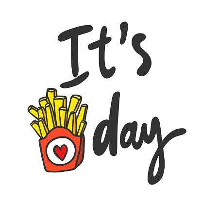 It is Friday. Sticker for social media content. Vector hand drawn illustration design.