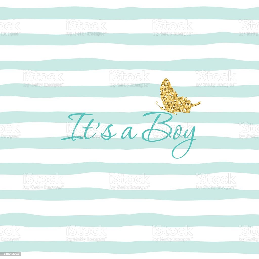 it s a boy baby shower template with gold glitter stock vector art