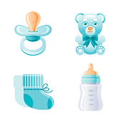 It s a boy, newborn icon set. 3D Cartoon baby born blue symbol. Cute toy bear, pacifier, milk bottle, shoes. Sweet vector illustration for baby shower design, gift card, child logo. Isolated on white