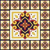 Italain tile pattern floor vector with old mosaic print