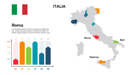Italia map. image of a global map in the form of regions of Italia regions. Country flag. Infographic timeline. Easy to edit