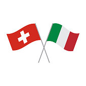 Italian and Switzerland flags vector
