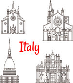 Italian architecture Italy landmarks vector icons