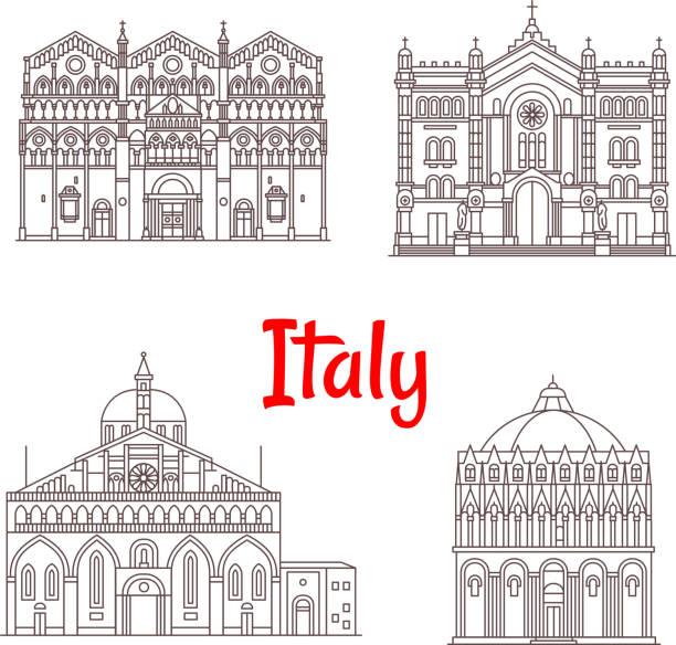 illustrazioni stock, clip art, cartoni animati e icone di tendenza di italian architecture italy landmarks vector icons - calabria