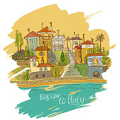 Colorful vector freehand illustration of painted Italian houses on a seashore.
