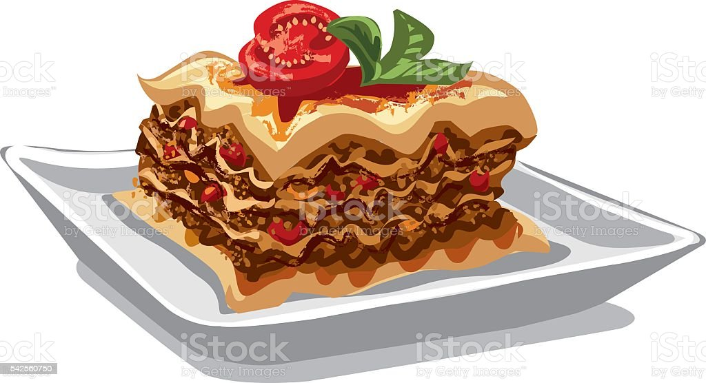 italian baked lasagna vector art illustration