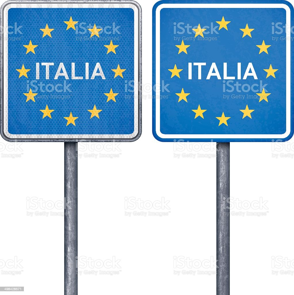 Italian border road sign with European flag royalty-free stock vector art
