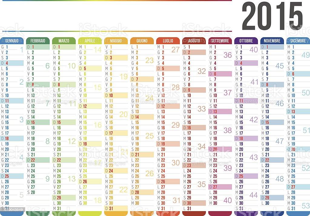 Italian Calendar 2015 vector art illustration